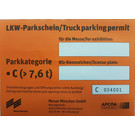 Trucks / Trailers / Vans (Height > 2m) Long-term parking permit, parking category C - from 7,5 t