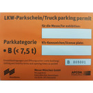 Trucks / Trailers / Vans (Height > 2m) Long-term parking permit, parking category B up to 7.5 t