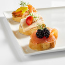 Canapé II: with smoked salmon, pickled salmon or trout fillet